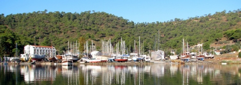 The boat yard where Leander will sit for the winter.