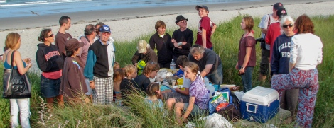 The extended Family Robertson and guests at Nahant Beach August 2010.