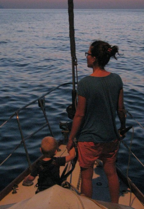 Alexander and Sima set the anchor just after sunset at Tropea.