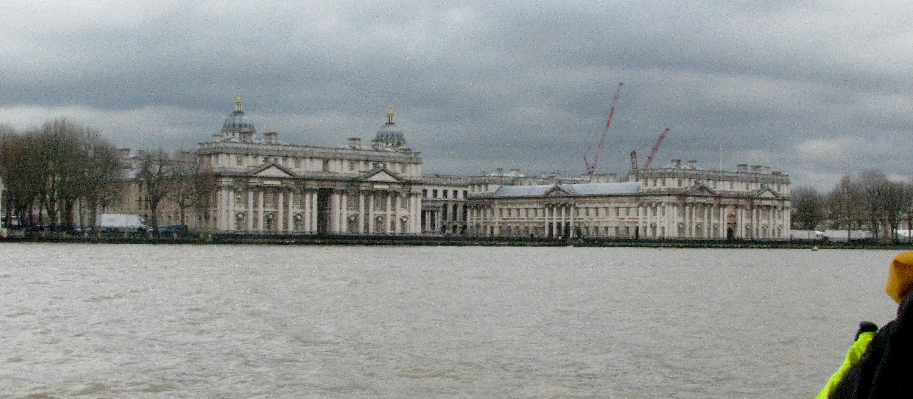 Moving up the Thames, Leander passes by the Old Royal Naval College in Greenwich.