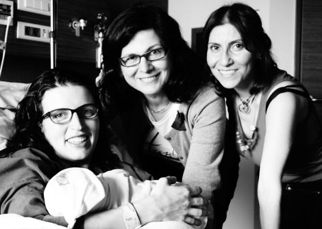 Sima with Aylin, and Dr. Bulbul and Sima, the doula.