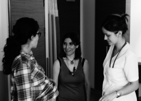 Sima chats with the doula and nurse midwife upon arrival at the hospital.