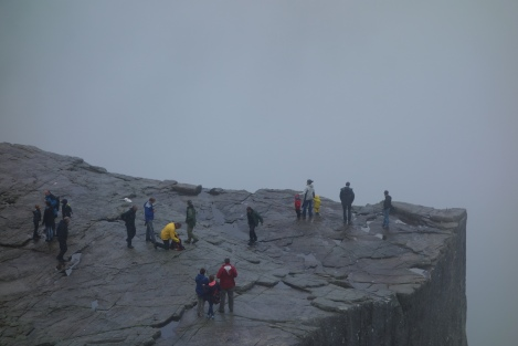 Sima, Alexander, and Aylin at the top of Preikestolen.