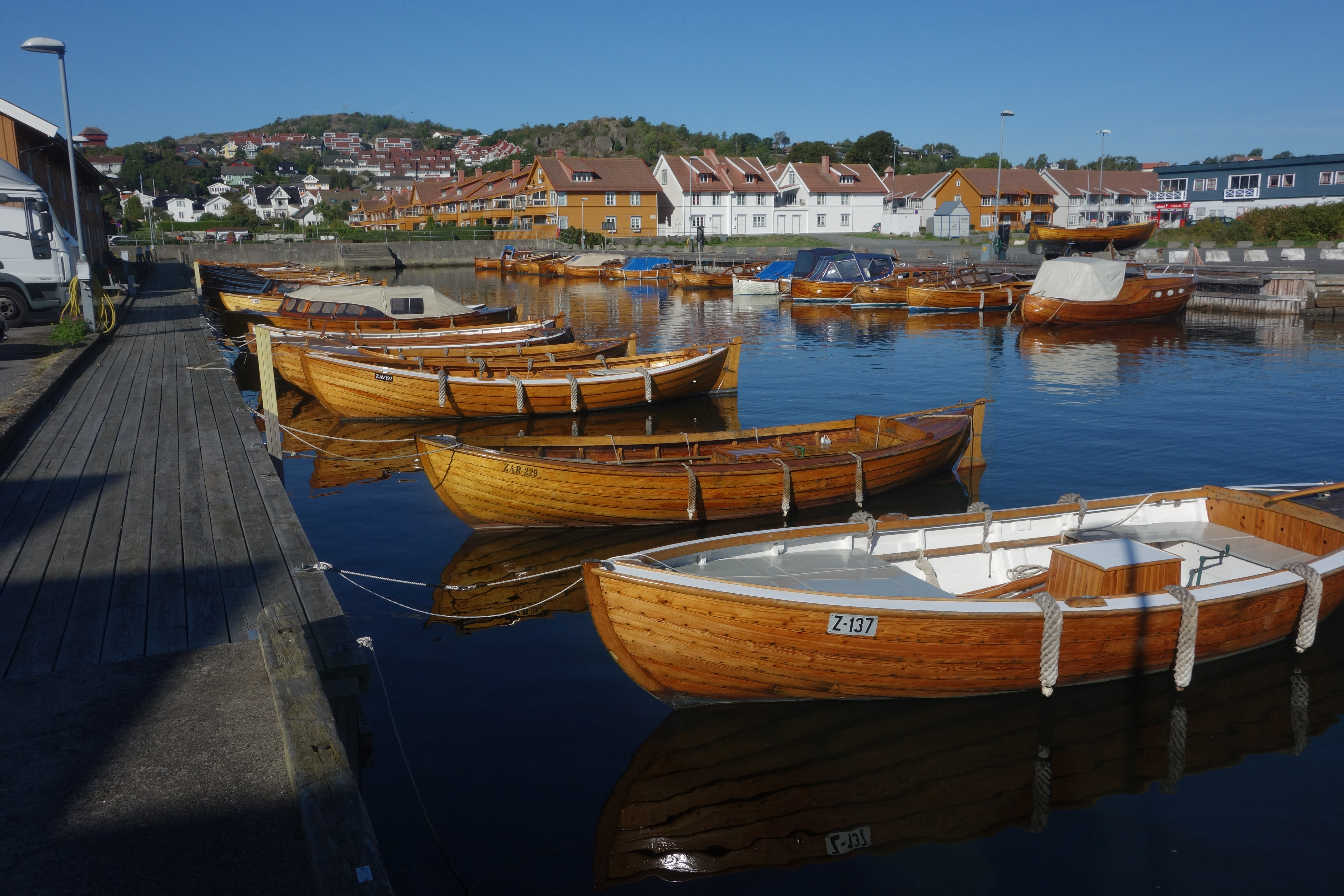 Stavern was pretty without the fog, too.  Here, wooden boats in the marina.