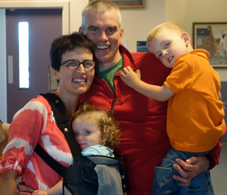 The happy family reunited at the Kirkwall airport.