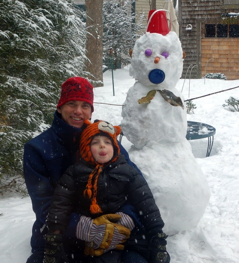 Alexander and dad after finishing a snow monkey.